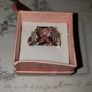 Sterling Silver w/pink sapphire (october)ring